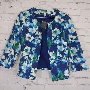 WHBM NWT Blue Watercolor Fitted Lined Blazer Sz 4